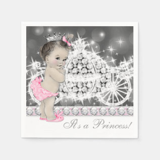 Elegant Pink And Gray Princess Baby Shower Napkin at Zazzle
