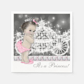 Elegant Pink and Gray Princess Baby Shower Napkin