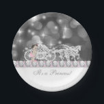 "Elegant Pink and Gray Princess Baby Shower Paper Plate<br><div class=""desc"">Pink and gray baby shower plates with princess baby girl and elegant sparkle carriage on a beautiful sparkle bokeh background. These elegant princess baby shower plates can be customized text in your choice of font style and color. You can also change the background color.</div>"