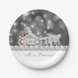 Elegant Pink And Gray Princess Baby Shower Paper Plate at Zazzle