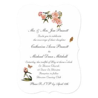 Elegant Pink and Green Floral Invitation