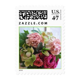 Elegant Pink and Green Floral Postage Stamp