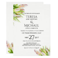 Elegant Pink and Green Tulip Wedding Watercolor Invitation