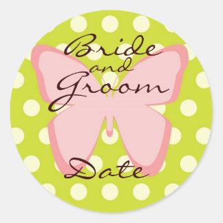 Elegant Pink and Green Weddng Favor Sticker
