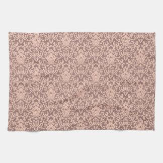 Elegant Pink and Mauve Damask Pattern Towel