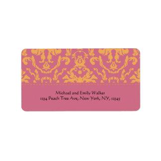 Elegant Pink and Orange Damask Address Label