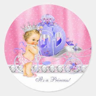 Elegant Pink and Purple Princess Baby Shower Classic Round Sticker