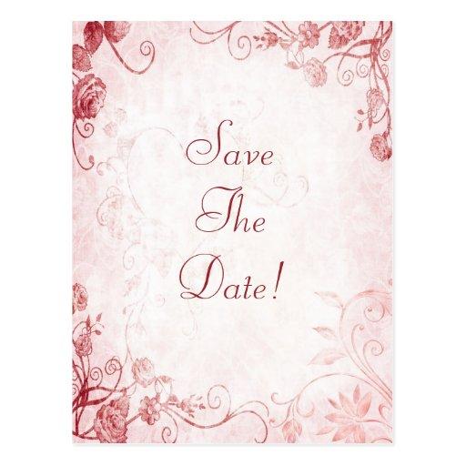 Elegant Pink and Red Vintage Wedding Save The Date Postcard
