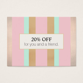 Elegant Pink and Rose Gold Striped Salon Referral Business Card