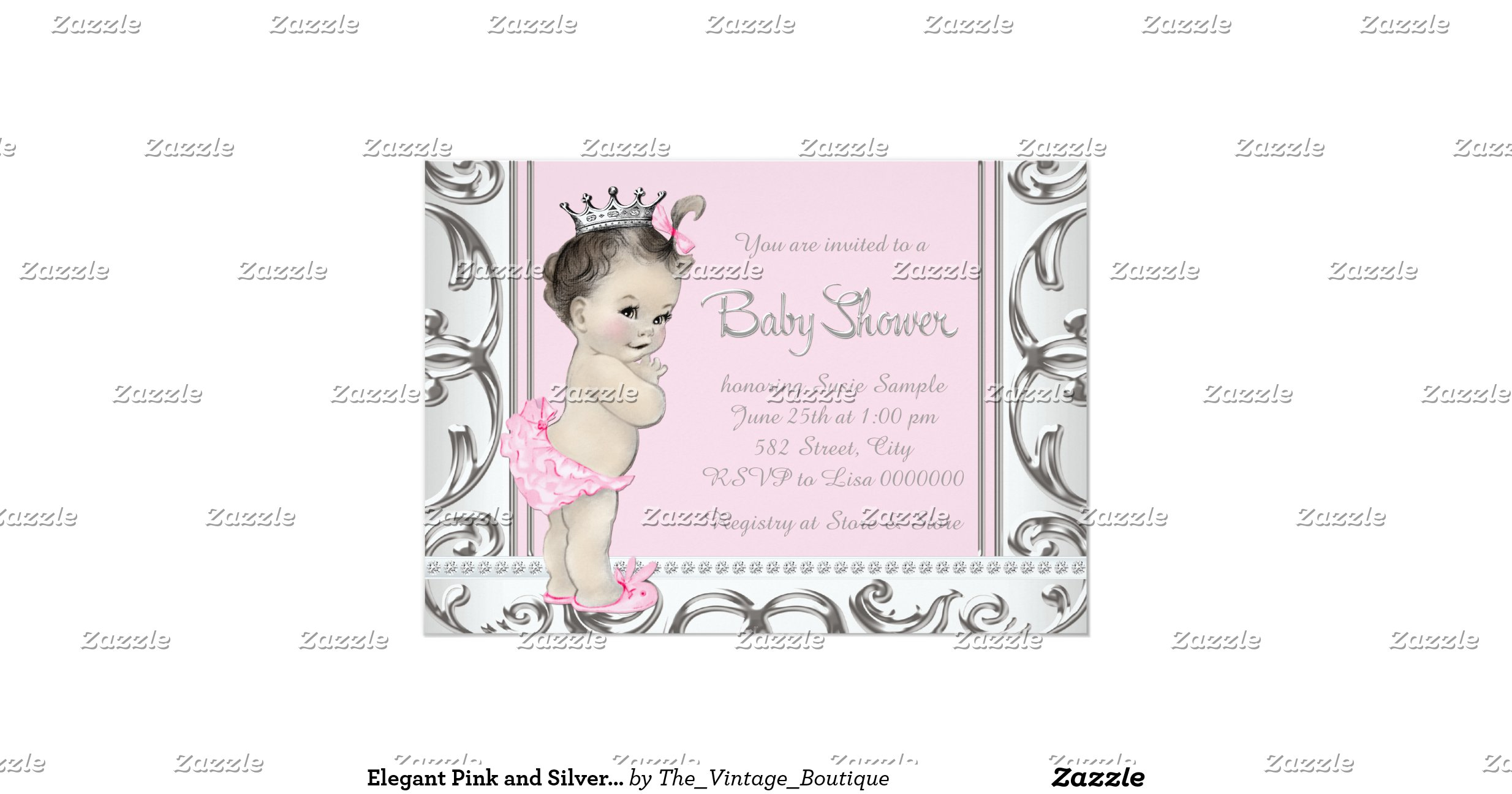 elegant pink and silver baby shower invitation