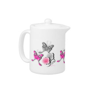 Elegant Pink And Silver Butterflies And Roses
