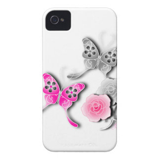Elegant Pink And Silver Butterflies And Roses iPhone 4 Case