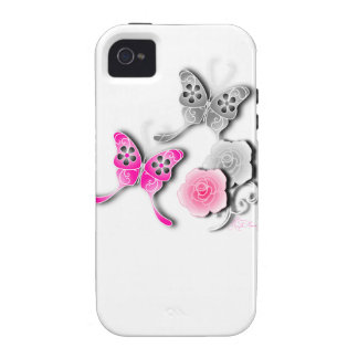 Elegant Pink And Silver Butterflies And Roses iPhone 4 Cover