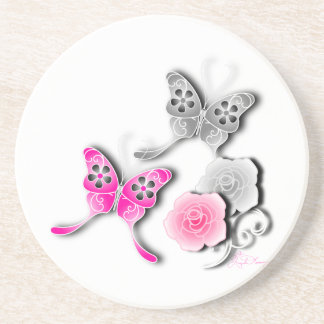 Elegant Pink And Silver Butterflies And Roses Beverage Coasters