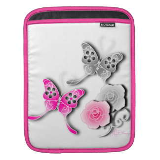 Elegant Pink And Silver Butterflies And Roses Sleeves For iPads