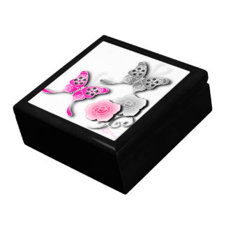 Elegant Pink And Silver Butterflies And Roses Keepsake Box