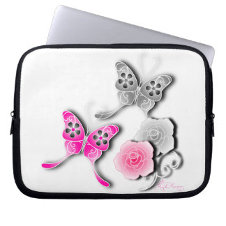 Elegant Pink And Silver Butterflies And Roses Computer Sleeve