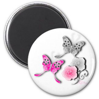 Elegant Pink And Silver Butterflies And Roses Magnet