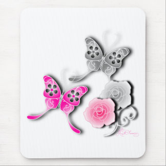 Elegant Pink And Silver Butterflies And Roses Mousepad