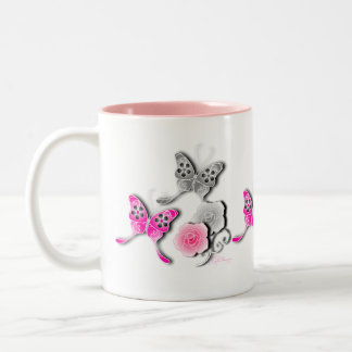 Elegant Pink And Silver Butterflies And Roses Mug