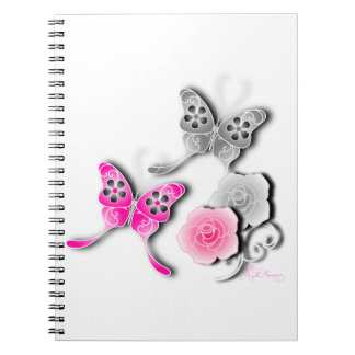 Elegant Pink And Silver Butterflies And Roses Notebooks