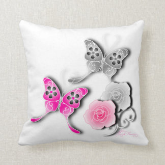 Elegant Pink And Silver Butterflies And Roses Throw Pillow