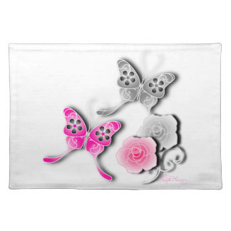 Elegant Pink And Silver Butterflies And Roses Place Mats