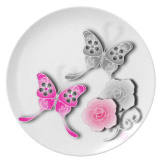Elegant Pink And Silver Butterflies And Roses Party Plates