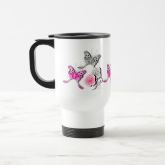 Elegant Pink And Silver Butterflies And Roses Travel Mug
