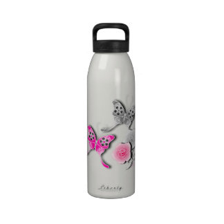 Elegant Pink And Silver Butterflies And Roses Reusable Water Bottles