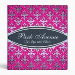 Elegant Pink and Silver Damask Beauty Salon Vinyl Binder