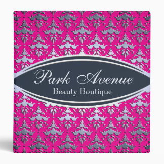 Elegant Pink and Silver Damask Beauty Salon 3 Ring Binder