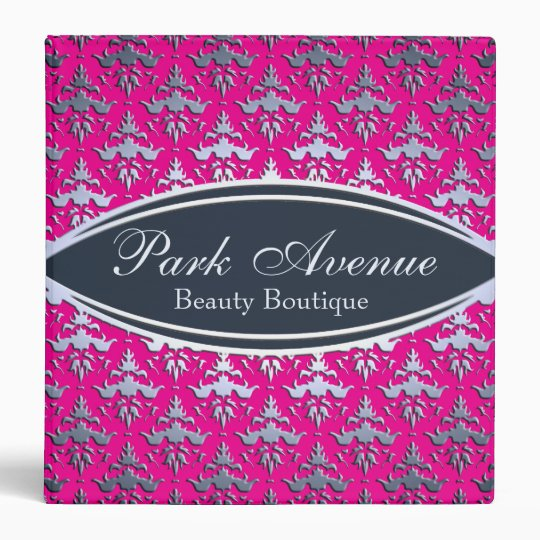 Elegant Pink And Silver Damask Beauty Salon Binder Zazzle