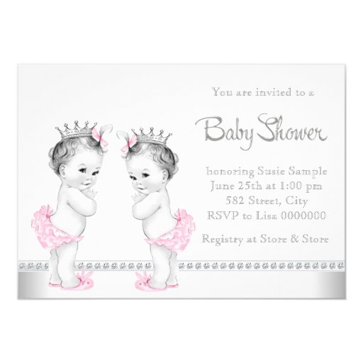elegant pink and silver twin girl baby shower 5x7 paper invitation