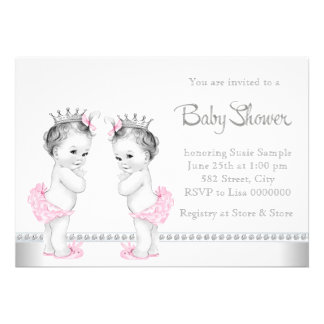 Elegant Pink and Silver Twin Girl Baby Shower Card