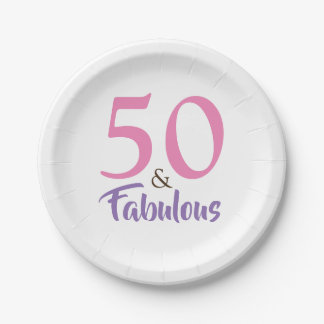 Elegant Pink And Violet 50th Birthday Party Paper Plate