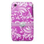 Elegant Pink and White Damask iPhone 3G Case