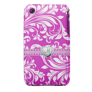 Elegant Pink and White Damask iPhone 3G Case