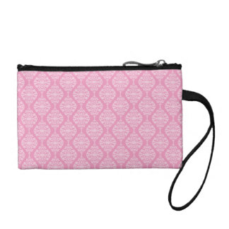 Elegant Pink And White  Damask Pattern Coin Purse