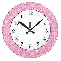Elegant Pink And White  Damask Pattern Large Clock