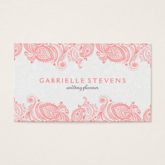 Elegant Pink And White Paisley Lace Business Card