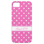 Elegant pink and white polka dots iPhone 5 covers