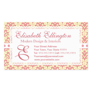 Elegant Pink and White Retro 1930s Art Deco Damask Business Cards