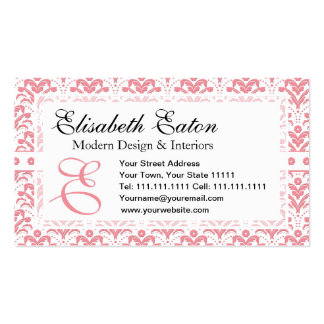 Elegant Pink and White Retro 1930s Art Deco Damask Business Card