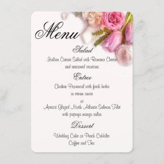 Elegant Pink and White Spring Floral Watercolor Menu