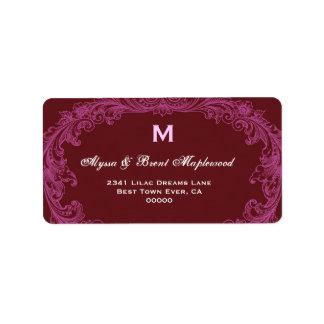 Elegant Pink and Wine Vintage Monogram B451 Label