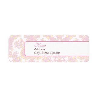Elegant Pink and Yellow Damask Address Label