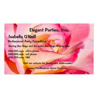 Elegant Pink and Yellow Rose Business Card Template