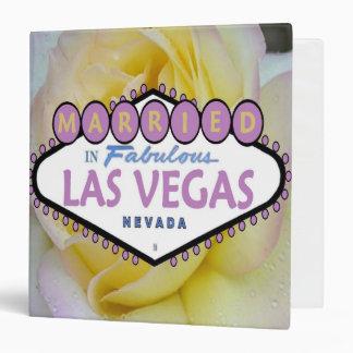 Elegant Pink and Yellow Rose MARRIED in Las Vegas  Vinyl Binder