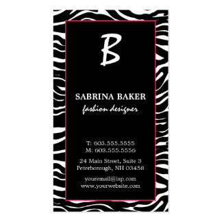 Elegant Pink and Zebra Monogram Business Cards